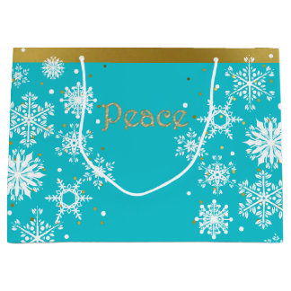 Snowflakes Peace Holiday Gift Bag Large Gift Bag