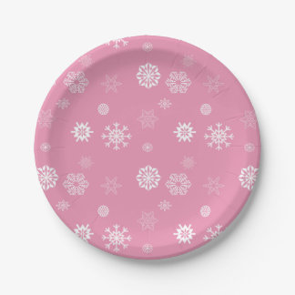 Snowflakes Pink 7 Inch Paper Plate