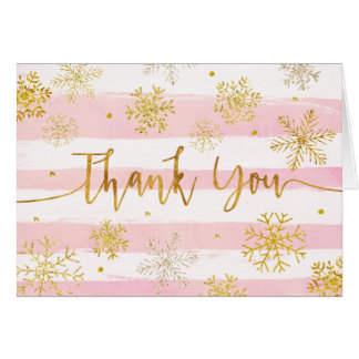 Snowflakes Pink and Gold Thank You Card Winter