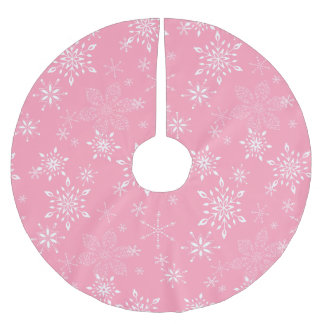 Snowflakes Pink Brushed Polyester Tree Skirt