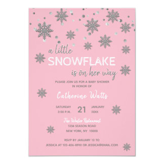 Snowflakes Pink Silver Grey BABY SHOWER | Girl Card