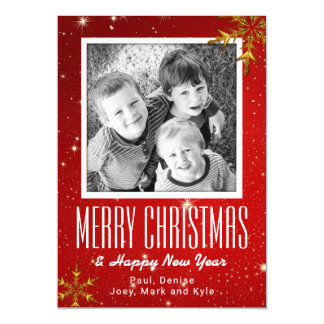 Snowflakes Red Merry Christmas 5x7 Photo Magnet