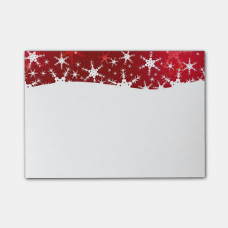Snowflakes Red Merry Christmas - Post-it® Notes