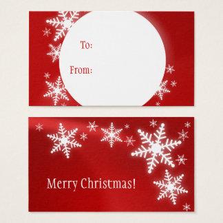 Snowflakes Red White Christmas Gift Tag