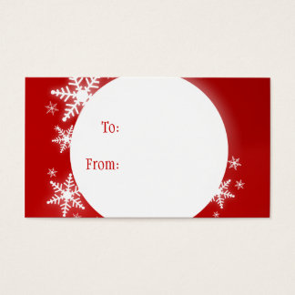 Snowflakes Red White Christmas Gift Tag