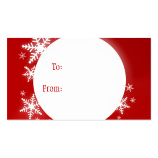 Snowflakes Red White Christmas Gift Tag Pack Of Standard Business Cards