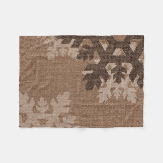 Snowflakes Rustic Style Faux Burlap Chic Holiday Fleece Blanket