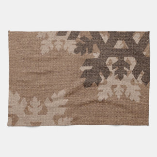 Snowflakes Rustic Stylish Faux Burlap Chic Holiday Hand Towels