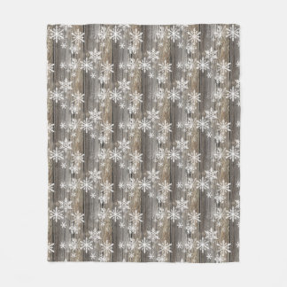 Snowflakes Rustic Wood Fleece Blanket