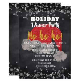 Snowflakes Santa Holiday Dinner Party Invitation