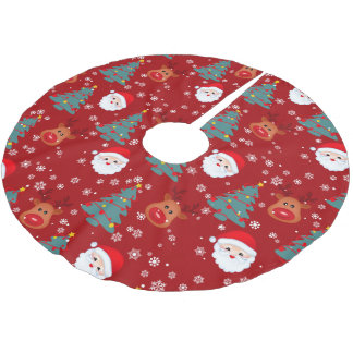 Snowflakes Santa pattern red background Brushed Polyester Tree Skirt