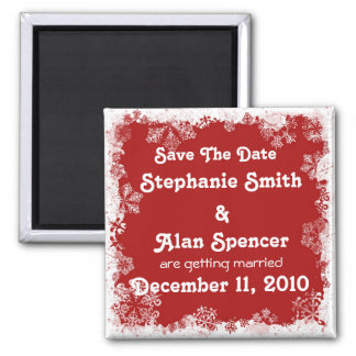 Snowflakes Save The Date  Magnet