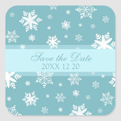 Snowflakes Save the Date Winter Wedding Stickers