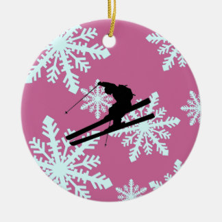 snowflakes skiing ceramic ornament