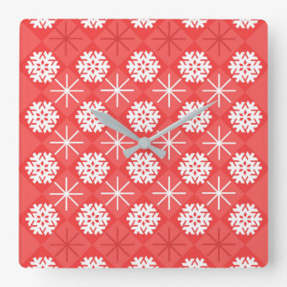 Snowflakes Square Wall Clock