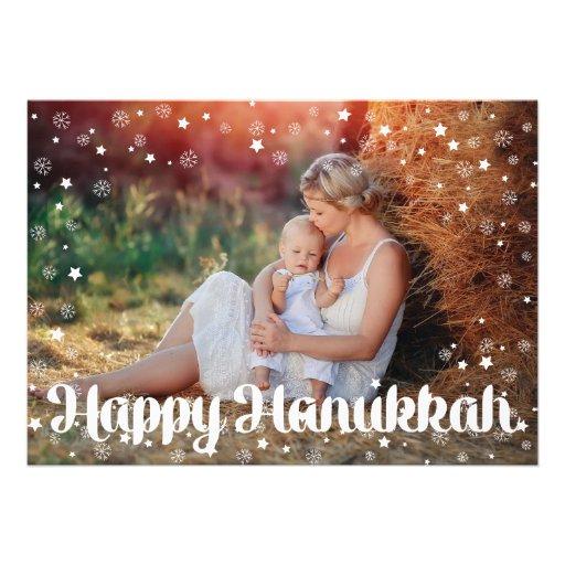 SNOWFLAKES & STARS CHALKBOARD HANUKKAH PHOTO CARD