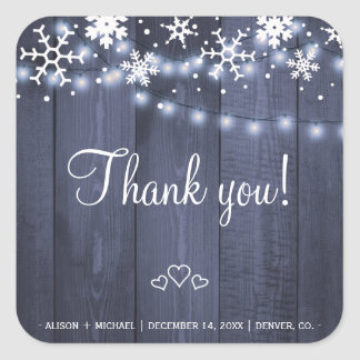 Snowflakes string lights rustic barn wood wedding square sticker