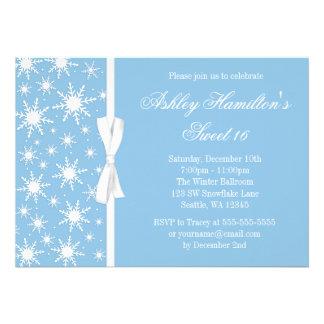 Snowflakes Sweet 16 Winter Wonderland Blue Personalised Invite