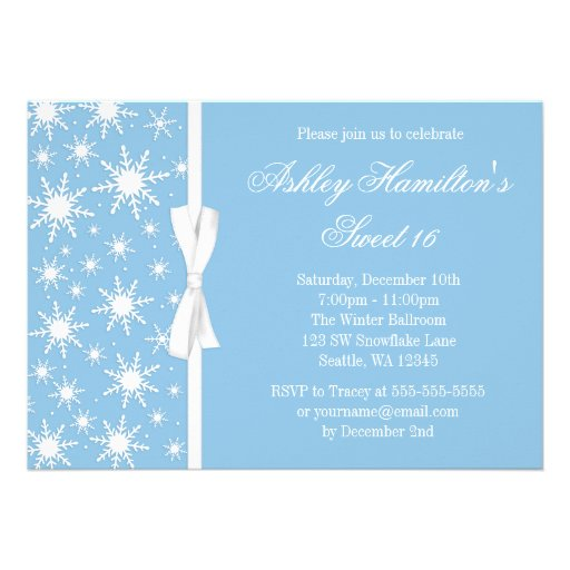 Snowflakes Sweet 16 Winter Wonderland Blue Personalized Announcement