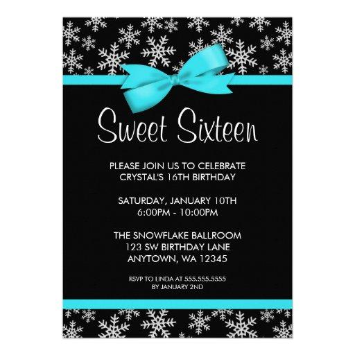 Snowflakes Teal Bow Winter Wonderland Sweet 16 Custom Invitation