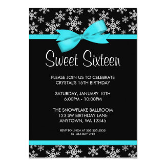Snowflakes Teal Bow Winter Wonderland Sweet 16 11 Cm X 16 Cm Invitation Card