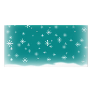 SNOWFLAKES TEAL PHOTO CARD