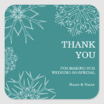 Snowflakes Thank You Wedding Stickers