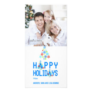 SNOWFLAKES TREE HAPPY HOLIDAYS PHOTO CARD