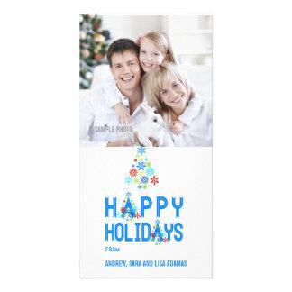 SNOWFLAKES TREE HAPPY HOLIDAYS PHOTO CARD