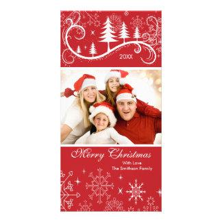 Snowflakes & Trees Merry Christmas Family Photo Customised Photo Card