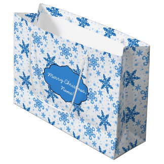 Snowflakes Turquoise on White Large Gift Bag