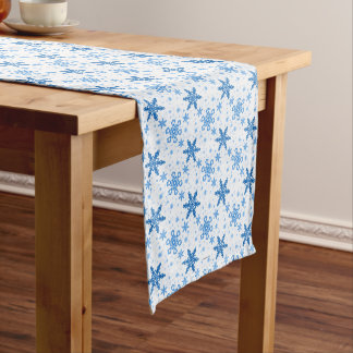 Snowflakes Turquoise on White Medium Table Runner