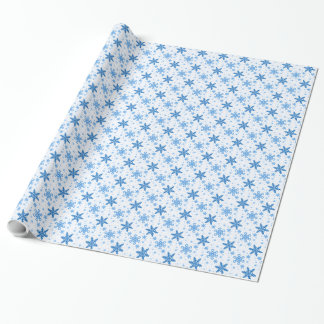 Snowflakes Turquoise on White Wrapping Paper