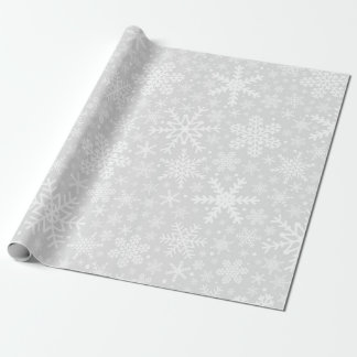 Snowflakes | White & Gray Wrapping Paper