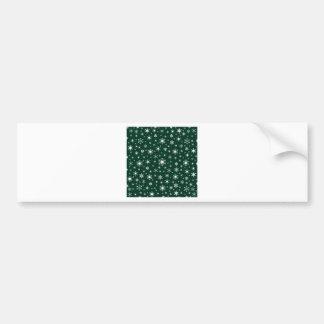 Snowflakes – White on Dark Green Bumper Stickers