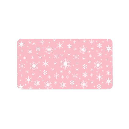 Snowflakes - White on Pink Address Label