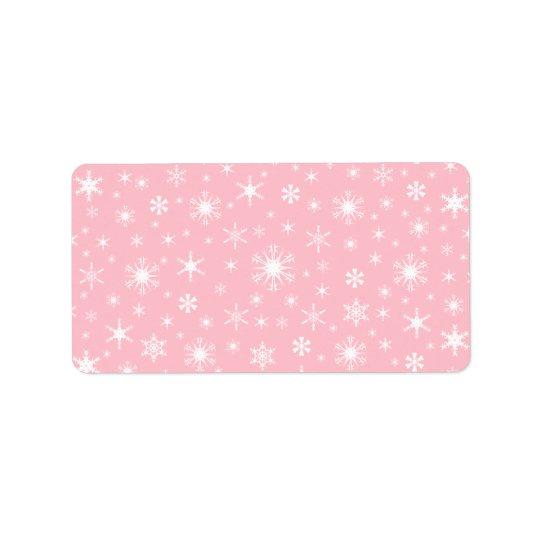 Snowflakes - White on Pink Label