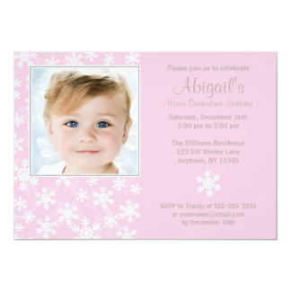 "Snowflakes Winter Onederland Pink Photo Birthday 5"" X 7"" Invitation Card"