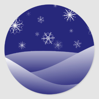 Snowflakes winter round sticker