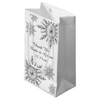 Snowflakes Winter Wedding Thank You Small Gift Bag