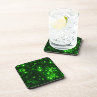 Snowflakes with Green Background Coaster