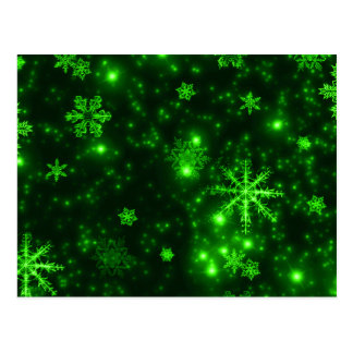 Snowflakes with Green Background Postcards