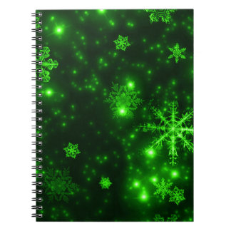 Snowflakes with Green Background Spiral Notebooks