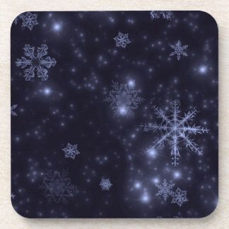 Snowflakes with Midnight Blue Background Drink Coasters