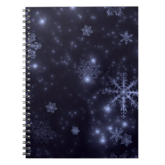 Snowflakes with Midnight Blue Background Spiral Notebook