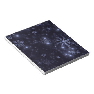 Snowflakes with Midnight Blue Background Memo Notepads