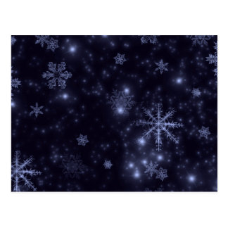 Snowflakes with Midnight Blue Background Post Cards