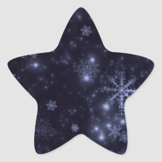 Snowflakes with Midnight Blue Background Star Sticker
