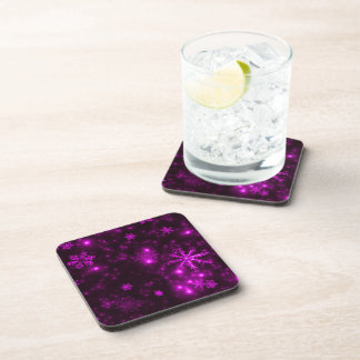 Snowflakes with Purple Background Beverage Coaster