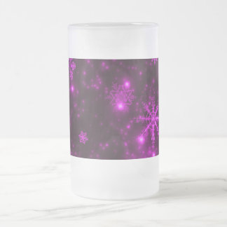 Snowflakes with Purple Background Coffee Mugs